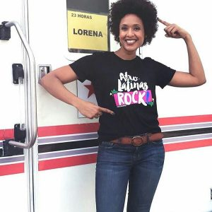 Boricua actress Jeimy Osorio (Celia Cruz in the series Celia!) wears the official Afro-Latinas Rock tee!