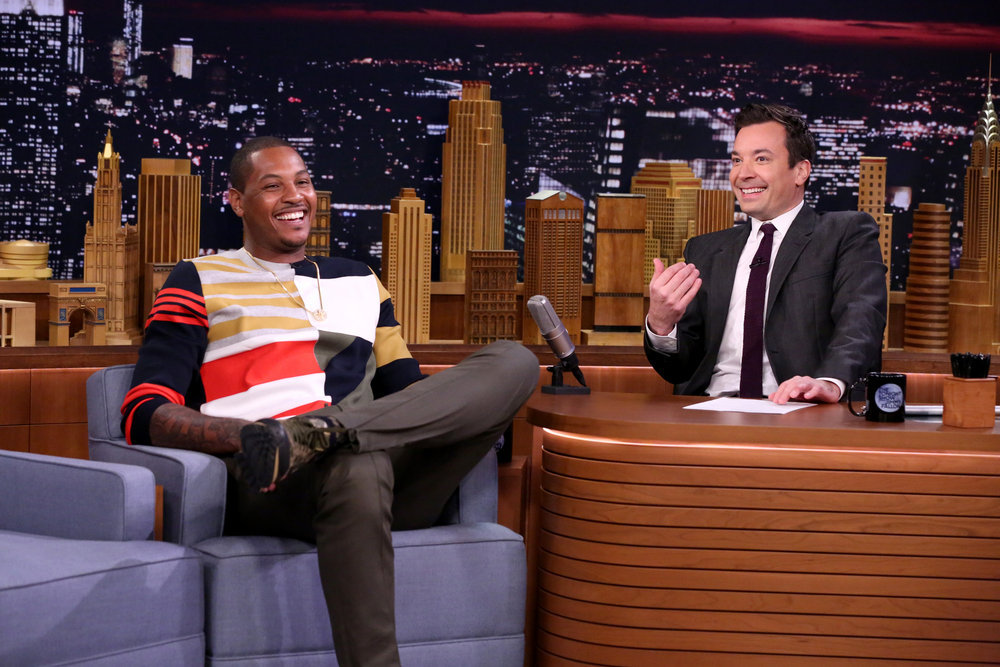 THE TONIGHT SHOW STARRING JIMMY FALLON -- Episode 0474 -- Pictured: (l-r) Professional basketball player Carmelo Anthony during an interview with host Jimmy Fallon on May 18, 2016 -- (Photo by: Andrew Lipovsky/NBC)